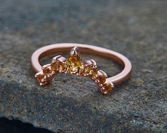 Citrine Wedding Ring Curve Wedding Band Crown Wedding Band 3x5mm Pear Cut Citrine Ring Chevron Ring Rose Gold Plated Sterling Silver Ring