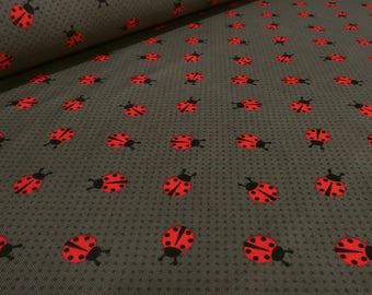 Fabric cotton jersey dot Ladybug Brown Red black fabric (15.00 EUR/Meter)