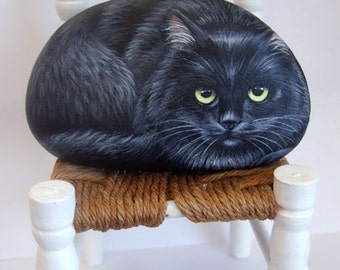 Irresistible Black Cat Painted on A Sea Stone | Rock Art by Roberto Rizzo | Hand Painted Pets Cat Items Fine Art