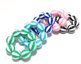 Toddler or Girls Watermelon Striped Chunky bracelets - Carnival Bracelet - Green, Turquoise, Royal Blue, Pink and Black Bracelet - Birthday