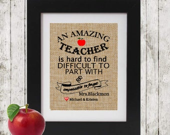 Personalized Teacher's Gift - Burlap Print - An Amazing Teacher is hard to find - Gift for Teacher - Gift for Teacher - Unique Teacher Gift