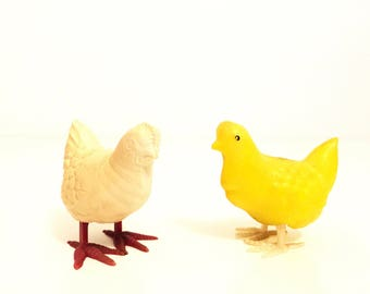 Two Chicks.Plastic Chicks.Easter Decor.Easter.Easter Decorations.Yellow.White.1940s.Vintage.Antique.Chicken.Nursery Decor.Farm Decor