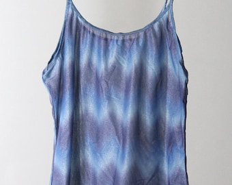 90s Sheer Shimmery Zig-Zag Print Semi-Cropped Tank Top