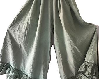 Green Grunge quirky funky pants trousers culottes cotton all sizes plus regular lagenlook layerlook layering boho festival OSFA RitaNoTiara