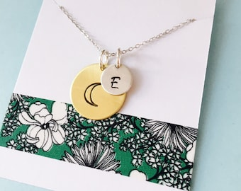 Love You to the Moon and Back Necklace, Moon Necklace, Moon Initial Necklace, Moon Jewelry, Personalized Moon Necklace, Mom Necklace
