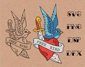 Old school Tattoo  Swallow Heart  Dagger  001 , SVG,vector,clipart,