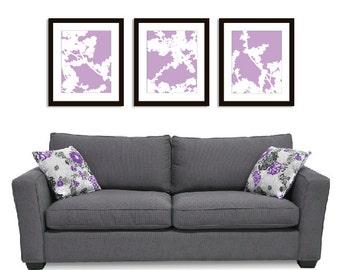 Cherry Blossoms Wall Art Print Set - 11x14 - Lavender Purple - Nature Flower Branches - Spring Decor- Modern Flowers Art