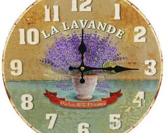 lavender, shabby chic wall clock, vintage wall clock, kitchen wall clock