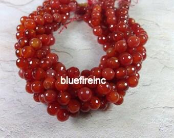38 pcs  10mm facetd Carnelion round  beads