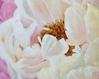 Abstract, white Peony, canvas print, Large canvas print, wall art, oil painting, white flower, Pink flowers, Square format, flat canvas,