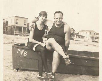 "Vintage Snapshot ""Summertime"" Beach Swimsuits Swim Stockings 1920's Found Vernacular Photo May's Rowboat"