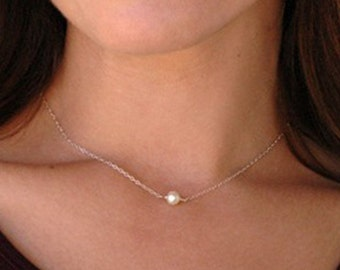 Dainty Pearl and Sterling Choker