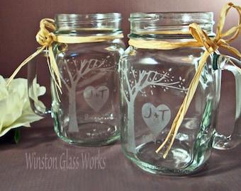 Rustic Blooming Tree Mason Jar Mugs