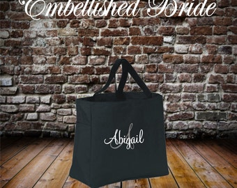 Bridesmaid Tote bags, Personalized Tote Bags ZIPPERED Embroidered Bridal Party Bridesmaid Gift