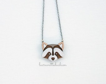 Wooden raccoon necklace - woodland pendant - animal jewelry - gift for her