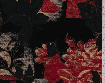 Red/Black Floral Chenille Jacquard, Fabric By The Yard