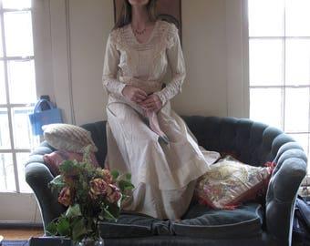 1910's Edwardian Beaded Lace Wedding Dress sz Med