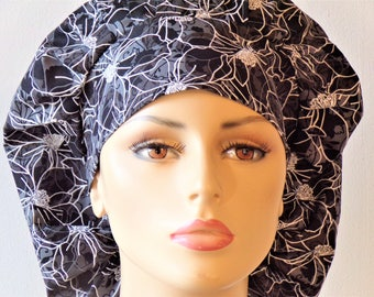 Surgical Bouffant Scrub Hat Black Floral with Gray and White Medical Scrub Hat / Scrub Caps Made in USA