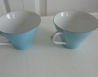 2 blue china cups Yamato Royal Series Fine China