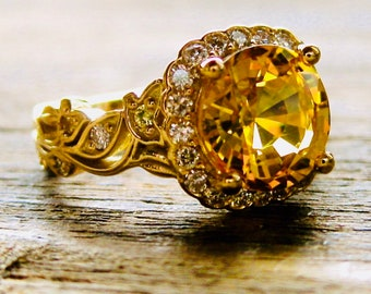 Yellow Sapphire Engagement Ring in 18K Yellow Gold with Diamonds and Yellow Sapphires in Leafs and Flower Blossoms Size 4