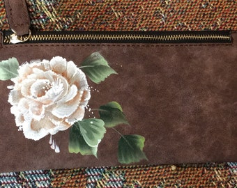 New Hand Paiinted Black Check book Cover with Pink Rose