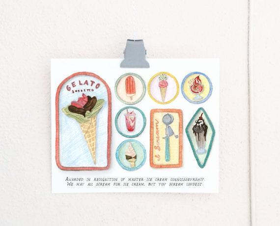 Ice Cream Connoisseur Merit Badges print of a watercolor illustration