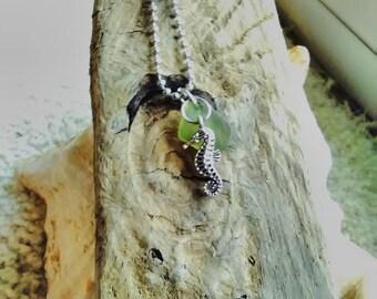 Green Sea glass seahorse necklace / sea glass jewelry/ sea glass necklace /seaglass jewelry/charm necklace/ seaglass necklace/seahorse