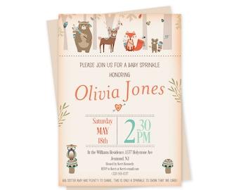 Woodland Baby Sprinkle Invitations -  Woodland Baby Sprinkle - Printable - Woodland Baby Sprinkle Invites - Tribal Woodland Invitation