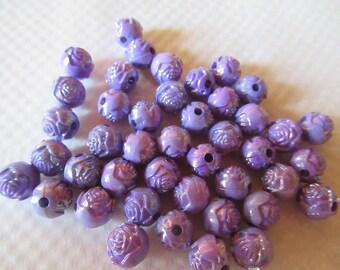PERLES ROSES LILAS  acrylique 8 mm petites perles  lot de 42 unités pour créations bijoux personalises avec breloques