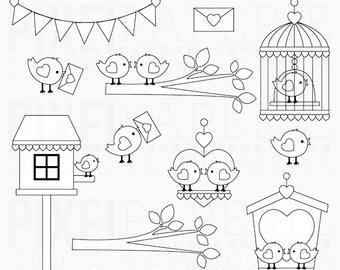 valentine stamps birds love hearts - Love Birds Digital Stamps