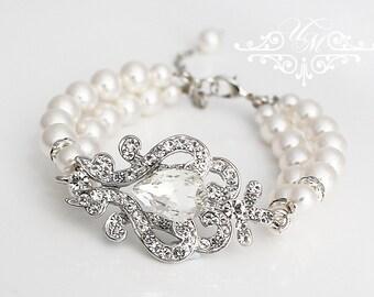 Wedding Jewelry Double strands Swarovski Pearl Bracelet Rhinestone Bracelet Bridal Bracelet Bridal Jewelry Bridesmaids jewelry  - NIKI