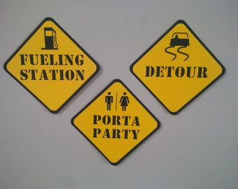 Construction Theme Road Signs Set of 3 Birthday Party Wall Decor Cuts PortaParty, Detour, Fueling Station