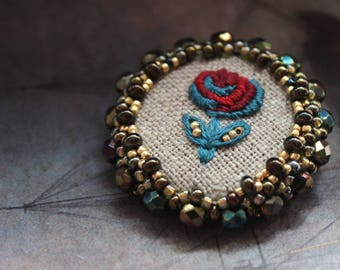 Beaded brooch, brooch embroidery, embroidery jewelry, flower brooch, brooch beaded, bead Brooch, handmade brooch, gift brooch, brooch bead