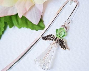 Crystal Angel Bookmark, Swarovski Peridot Green Crystal Angel Bookmarker
