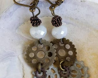 Antique Gold Gear Earrings