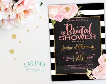 Bridal Shower Invitation, Floral Black & White Stripe Bridal Shower Invite, Chalkboard Invitation, Gold Glitter Invitation, Printable