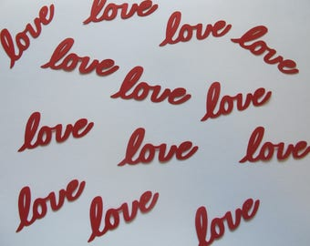 Red Love Confetti - Love Confetti - Red Wedding Decorations - Red Bridal Shower - Red Wedding Shower - Valentine's Day Decor - Word Confetti