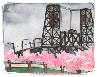Steel Bridge Illustration - Art Print - Illustration Art - Portland Oregon Art - Portland Steel Bridge - 5x7 Art - Portland Spring