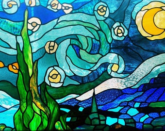 """A copper foiled stained glass version of Van Gogh's """"Starry Night"""""""