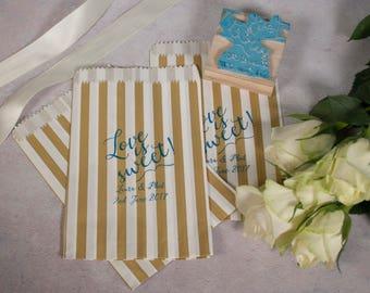 Personalised DIY wedding Stamp - Love is Sweet paper bag stamp, Custom Rubber Stamp