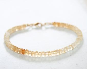 Ombre Citrine Beaded Bracelet, 14K Gold Filled, Shaded Yellow Citrine Bracelet, Small Gemstone, November Birthstone, Mother's Day Gift