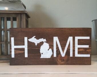State HOME wood sign, Michigan home handmade wood sign, state wood sign, home decor, nursery wood sign, baby wood sign, wood signs