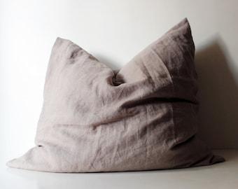 Natural Linen Sham, Linen Pillowcase, Natural Grey Softened Linen Pillow Case, Queen Linen Pillow Cases, King Linen Pillow Case,