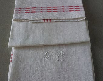 Sweden set of 2 linen towels with embroidered monogram.Kitchen&dining.1970's
