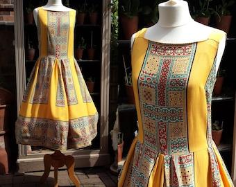 "Mustard SZ 10 Summer Dress 1950/60's Waist 28"" Byzantine Mod .  Mid Century Fashions . Rockabilly Dress . Vintage Clothing  ."