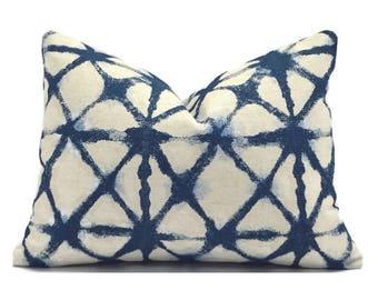 Lumbar Pillow Cover Decorative Pillow Cover Designer Pillow Blue Pillow Premier Prints Shibori Denim