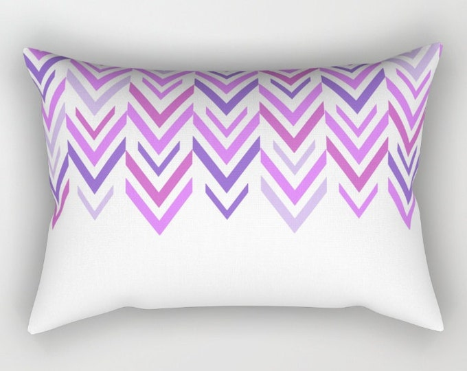 Purple Pillow Includes Pillow Insert - Purple and White Arrows - Bed Pillow  - Lumbar Throw Pillow - Made to Order