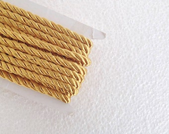1.1 yards gold , 5 mm twist cord, twisted , Wrapped Thread Cord, Satin Twisted cord , Decoration,Fabric Rope Trim Accent for Crafting