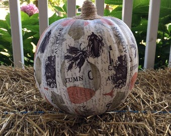 Large Fabric Wrapped Pumpkin