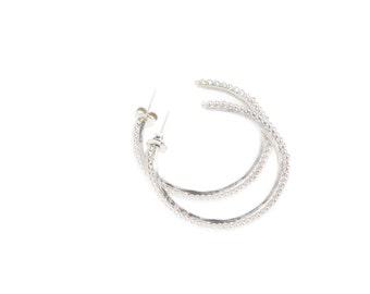Silver Ball Hoop Earrings